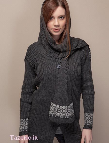 مدل های مانتو بافت زنانه و دخترانه جدید با رنگ ذغال سنگی و طوسی