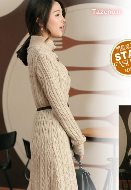 تونیک بافتنی , لباس بافتنی بلند , مدل مانتو بافتنی 2015 , لباس بافتنی کره ایی جدید