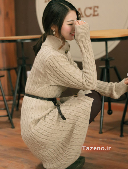 مانتو بافتنی , لباس بافتنی دخترانه , مدل مانتو بافتنی 2015 , تونیک بافتنی کره ایی جدید