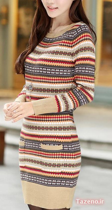 لباس بافتنی , لباس بافتنی دخترانه , مدل تونیک بافتنی 2015 , لباس بافتنی کره ایی جدید