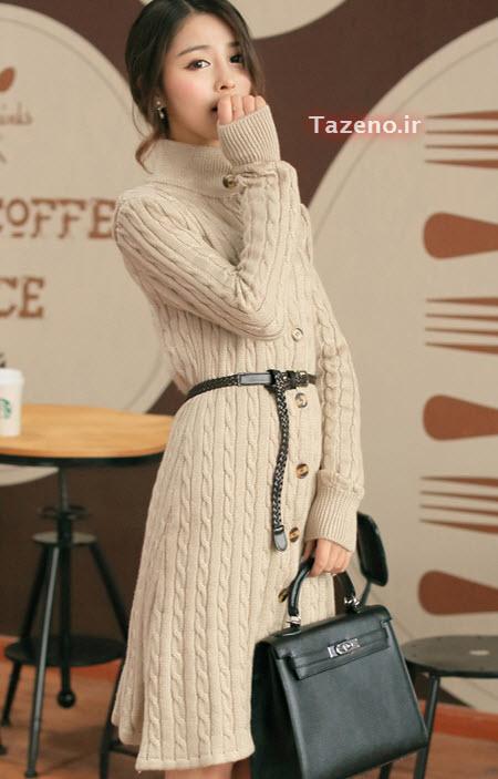 لباس بافتنی , مانتو بافتنی دخترانه , مدل مانتو بافتنی 2015 , لباس بافتنی کره ایی جدید
